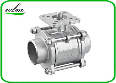 China Three Piece Sanitary Ball Valves Stainless Steel 304 Or 316L With High Mounting Pad supplier