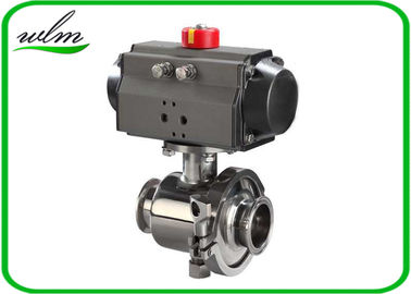 China Tri Clamp Sanitary Ball Valves With Aluminum Pneumatic Actuator , Non Retention supplier