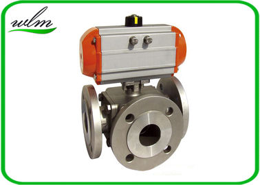 China Light Weight Sanitary Ball Valves Aluminum Pneumatic Actuator , Flanged Connection End supplier