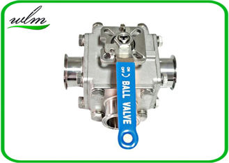 China Sanitary Full Bore Ball Valve Clamp / Thread / Weld / Flange 3 Way , Non Retention supplier
