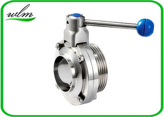China 4 Gear Pull Handle Sanitary Butterfly Valve With Thread And Weld Connection supplier