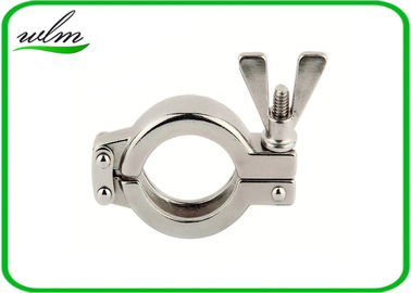 China Sanitary Hygienic Double Bolt Pipe Clamps Tri Clamp Sanitary Fittings Mirror Polishing supplier