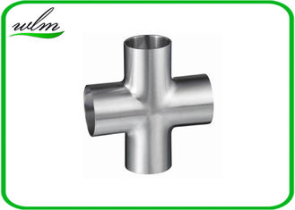 China 3A Standard Hygienic Long Tangent Cross Fittings Stainless Steel Butt Weld supplier