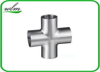 China Butt Weld Straight Cross Fittings Stainless Steel Hygienic Fittings 15 Bar Pressure supplier