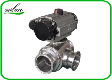 Clamped Sanitary 3 Way Ball Valve / Stainless Steel Pneumatic Ball Valves
