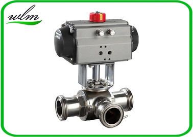 Food Grade 3 Way Sanitary Ball Valves  Male / Female Thread , Floating Ball Core Structure