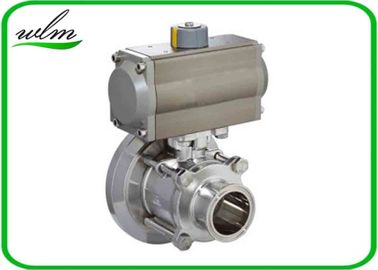 Hygienic Weld Clamp Flange Thread Tank Bottom Ball Valve With Aluminum Pneumatic Actuator