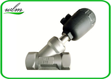 Hygienic Plastic Angle Seat Valve with Pneumatic Actuator , Thread / Flange Connection