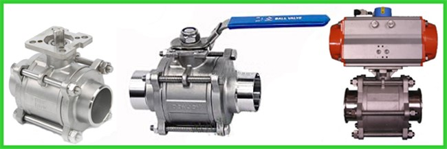 Three Piece Sanitary Ball Valves Stainless Steel 304 Or 316L With High Mounting Pad