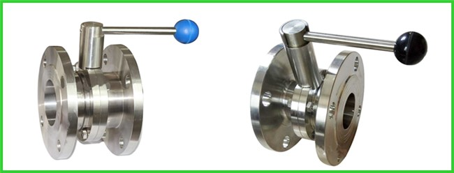 High Performance Hygienic Butterfly Valves , Flanged Butterfly Valve Pull Rod Handle