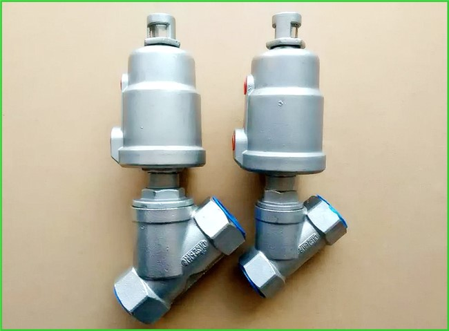 Double Acting Hygienic Valves Pneumatic Angle Seat Valve PTFE Seal Material
