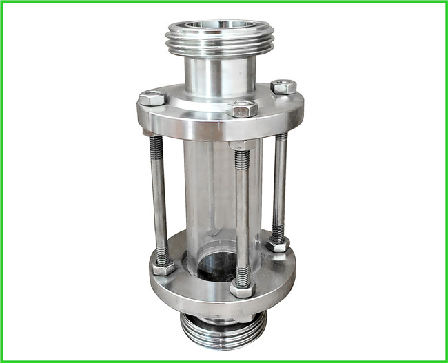 Sanitary Straight / Inline Pipe Sight Glass Male Thread Connection , Reducing Shaped