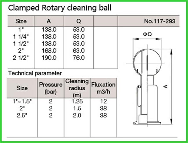 Tri Clamp Sanitary Spray Balls Rotary Tank Cleaning , 1.25M To 2M Cleaning Radius