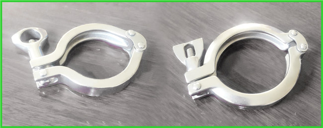 Sanitary Hygienic Double Bolt Pipe Clamps Tri Clamp Sanitary Fittings Mirror Polishing
