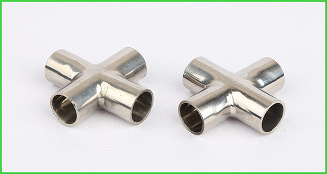 Butt Weld Straight Cross Fittings Stainless Steel Hygienic Fittings 15 Bar Pressure